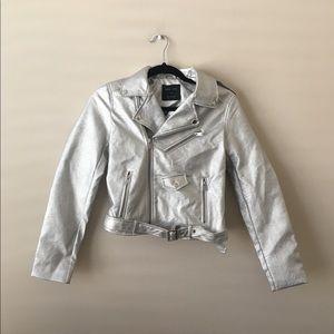 Silver Metallic Motto Jacket